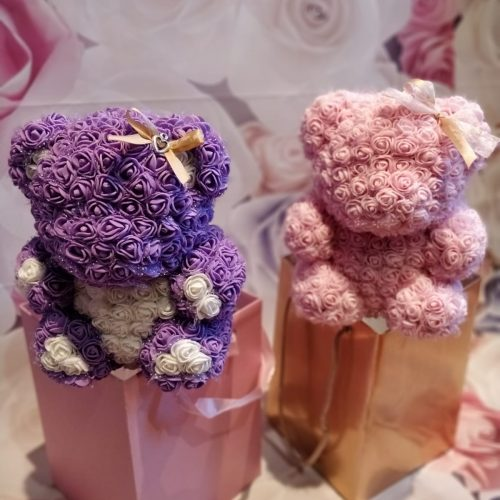purple and pink rose bear