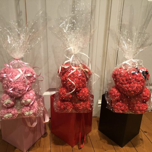 pink and red rose bears