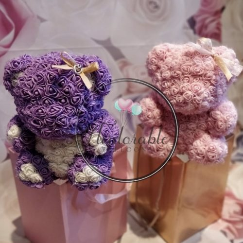 purple and pink flower bear