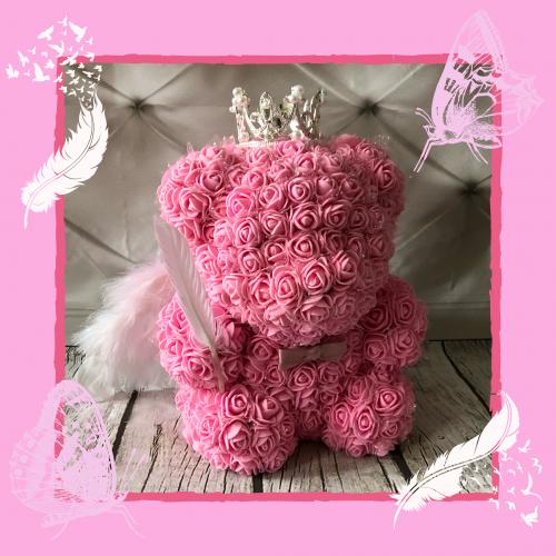pink angel wing rose bear