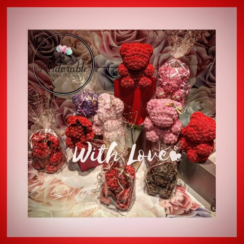 red and pink forever flower bears