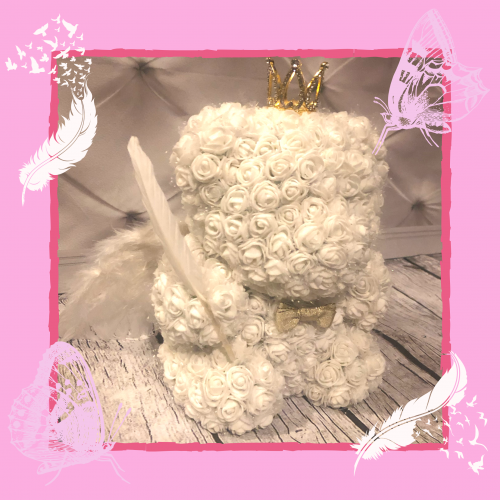 white angel wing rose bear
