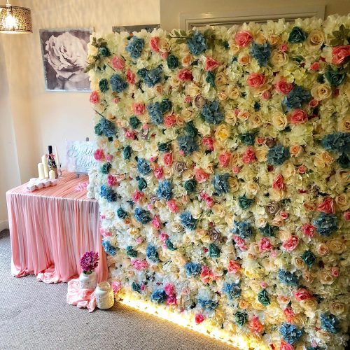 Blue Pink and Ivory Flower wall hire