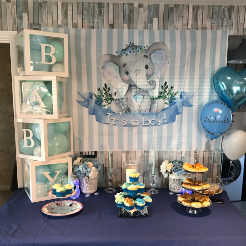 baby boy baby shower setup with cubes and balloon cluster